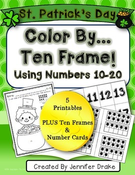 Color By Ten Frame #s10-20! St.Patty's Version! Printables, 10 Frames & # Cards!