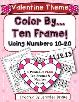 Color By Ten Frame #s10-20!  Valentine Version! Printables, 10 Frames & # Cards!
