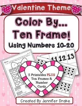 Color By Ten Frame #s10-20!  Valentine Version! Printables, 10 Frames & # Cards!