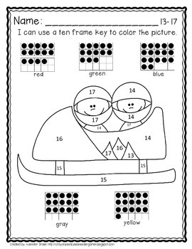 Color By Ten Frame #s10-20! Winter Sports! Printables, 10 Frame & Number Cards!