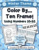 Color By Ten Frame #s10-20! Winter Version! Printables, 10 Frame & Number Cards!
