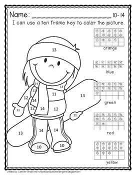 Color By Ten Frame #s10-20! Winter Version! Printables, 10 Frame & Number Cards!