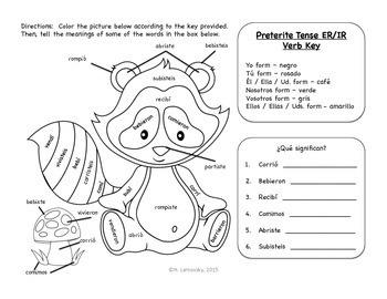Color By Verb - Spanish Preterite Tense Coloring Puzzles