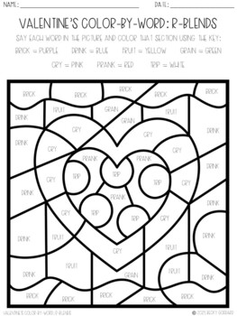 No Prep Color-By-Word Valentine's Day Articulation Packet For /R/
