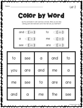 Color By Word Sight Word Activity // FREEBIE