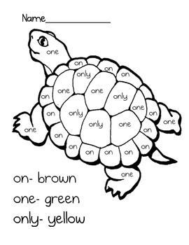 Color By Word Turtle by Lauren Reichenbach | Teachers Pay ...