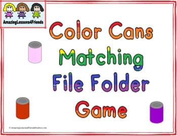 Color Can Matching File Folder Game