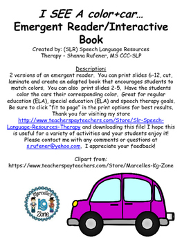 Color Car Emergent Reader and Interactive Book