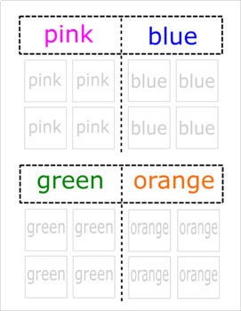 Color Car Sort file folder activity - adapted for big, small, and word icons