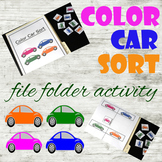 Color Car Sort file folder activity - adapted for big, sma