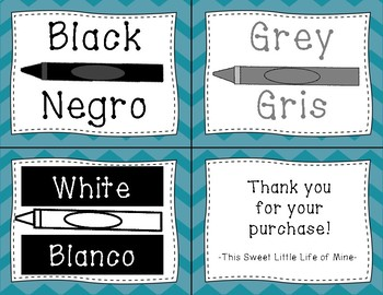 Color Cards in English and Spanish - Blue Chevron