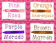 Color Cards in English and Spanish - Bright Pink Chevron