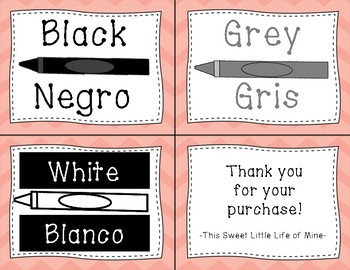 Color Cards in English and Spanish - Coral Chevron