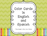 Color Cards in English and Spanish -Green Chevron