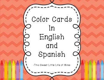 Color Cards In English And Spanish Orange Chevron Tpt
