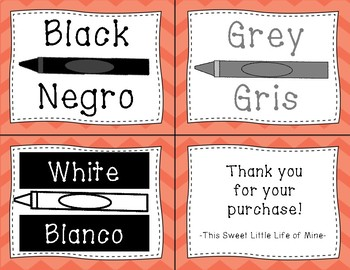 Color Cards in English and Spanish - Orange Chevron