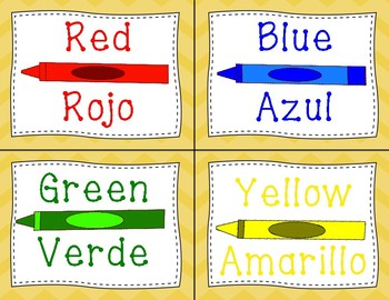 Color Cards in English and Spanish - Yellow Chevron