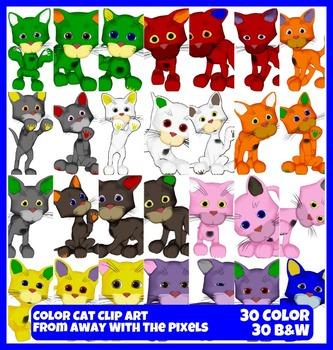 Color Cat Clip Art - 30 Colorful Clipart Images