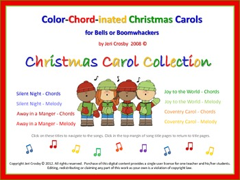 Color Chord-inated CHRISTMAS CAROLS for Bells (or Boomwhackers) | TpT