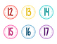 Color Classroom Numbers- No Words