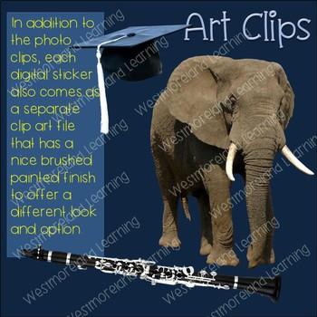 Color Clip Art Black & Gray Photo & Artistic Digital Stickers