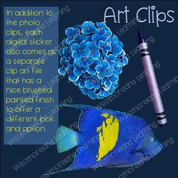 Color Clip Art Blue True Colors Photo & Artistic Digital Stickers