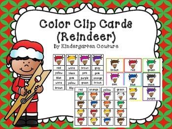 Color Clip Cards -Reindeer