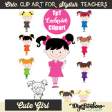 Color Clipart for teachers, cute kid in bright colors