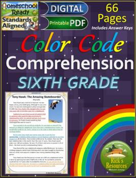 Close Reading Comprehension Color-Coding Text Evidence 6th Grade