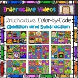 Color Code Interactive Videos - Addition and Subtraction Holiday Bundle