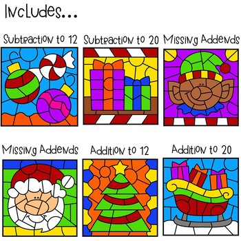 Color Code Interactive Videos - Christmas Addition and Subtraction