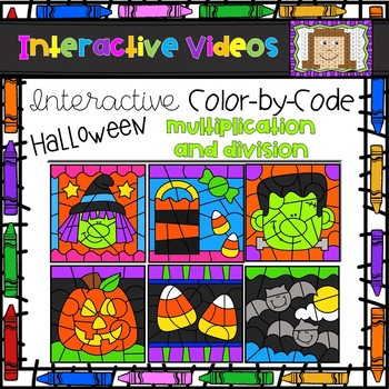 Color Code Interactive Videos - Halloween Multiplication and Division