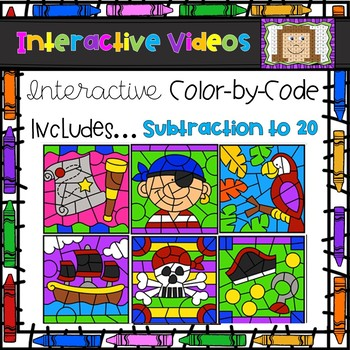 Color Code Interactive Videos - Pirate Subtraction to 20