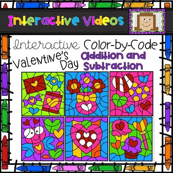 Color Code Interactive Videos - Valentine's Day Addition and Subtraction