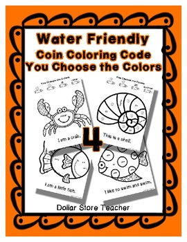 Color Code Penny Nickel Dime Quarter Water / Sea / Ocean Sheets - Fill in Colors