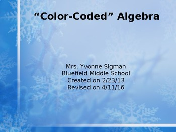 Color Coded Algebra