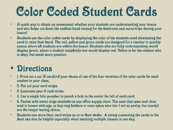 Color Coded Assessment and Management Student Cards