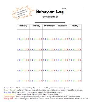 Color Coded Behavior Log
