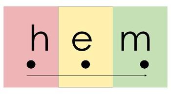 Color Coded CVC Words: -em, en, et Familes