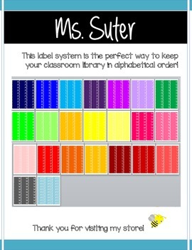 color coded classroom library book spine labels by suter in third