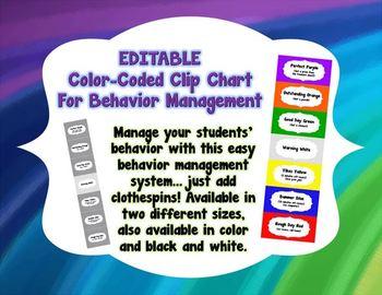 Editable Color-Coded Classroom/Behavior Management Chart