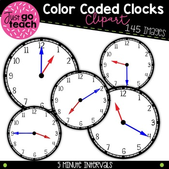 Color Coded Clocks {5 Minute Intervals} Clipart