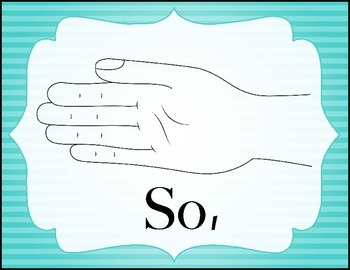 Color Coded Curwen Solfege Hand Signs - Striped Background