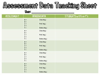 Color Coded Data Tracking Sheets