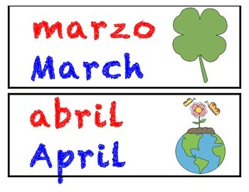 Color Coded Dual Language Calendar Cards ( Spanish and English )