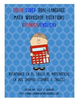 Color Coded Dual Language Math Workshop Rotations ( Spanish and English )