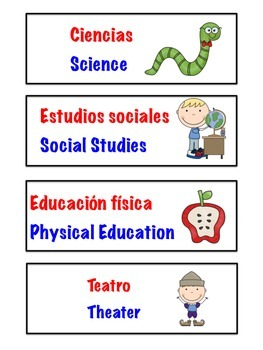 Color Coded Dual Language Classroom Schedule Cards ( Spanish and English )