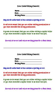 Color Coded Editing Checklist