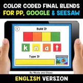 Color Coded Ending Blends Word Work for Google and Seesaw