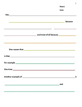 Color Coded Essay Organizer and Outline